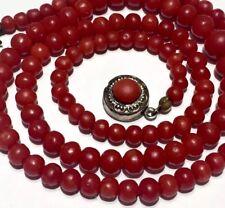 Rich OX BLOOD RED Art Deco Nouveau antique vintage no dye natural coral Necklace