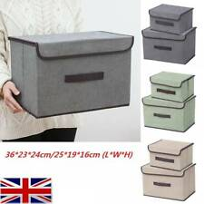 Foldable Fabric Storage Box with Lid Collapsible Home Clothes Organizer Cube Hot