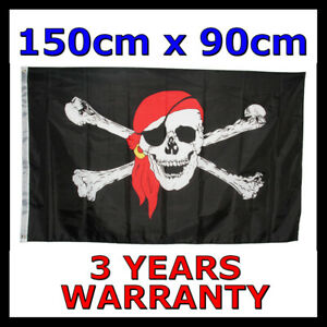 Large Jolly Roger Pirate Flag Black Skull and Crossbone Outdoor Party 150 x 90cm