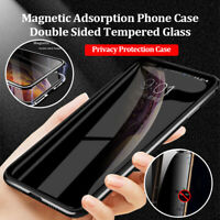 Privacy Magnetic Metal Adsorption Tempered Glass Case For Samsung Note 9 10 Plus