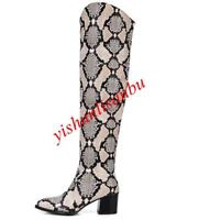 Womens Sexy Knee High Boots Pointed Toe Block Heel Patent Leather  Fashion Boots