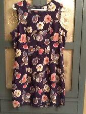 Um & Company Ulterior Motives Navy Blue Floral Sleeveless Sheath Dress Sz 13/14