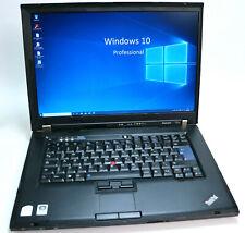 "Win 10 Pro Notebook Lenovo ThinkPad T61p Intel C2D 2.4 GHz SSD 128 GB 4 GB 15.4"""