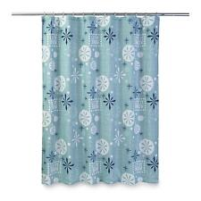 """Just for Bath Shower Curtain """"Let it Snow"""" Snowflakes - Blue"""