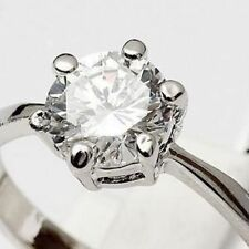 18K White Gold On Silver 1.5 Carat Fiery Simulated Moissanite Ring_Size 6+3/4