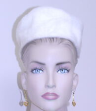 Vintage 1960 HAT pillbox faux ivory fur one size sits atop head