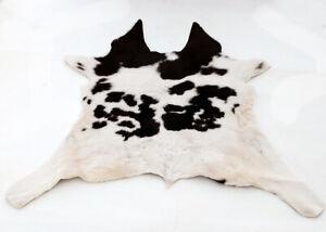 """Rare Cowhide Rugs Calf Hide Cow Skin Rug (29""""x35"""") White & Black CH8357"""