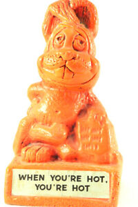 VTG 70s Paula bunny figurine WHEN YOU'RE HOT YOU'RE HOT Rare safety orange color