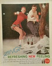 1961 Coca-Cola soda glass bottles zing ice skating couple outside snow tree ad