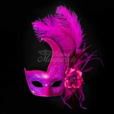 Ostrich Feather Venetian Masquerade Mask for Women M6123 [Hot Pink]