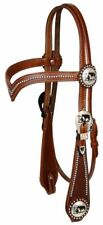 Brown Leather Western V Brow Bridle w/ Praying Cowboy Conchos & Split Reins
