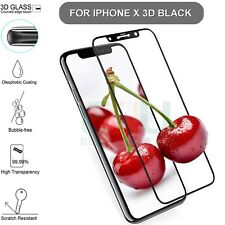 For Apple iPhone X Tempered Glass Screen Protector 3D Full Cover Black