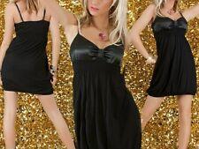 SeXy Miss Damen Satin Schleifen Form Dekollete Mini Kleid 34/36/38 schwarz NEU