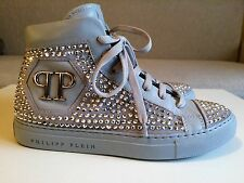 """NEW Philip Plein Gray Leather & Crystals High Sneakers """"The Best"""" size 38 US 7"""