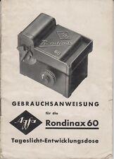 PDF Agfa Rondinax 60 Tageslicht-Entwicklungsdose Bedienungsanleitung Manual