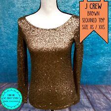 J CREW Size XS Brown Bronze Sequined Dressy T Shirt Top Long Sleeve Evening Wear