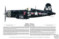 """F4U-1 Corsair Ace, Phillip DeLong"" Ernie Boyette Print Co-signed by DeLong"