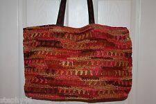 NEW! NWT! FLORABELLA Fuchsia Multi Crochet Straw X Lg CAICOS Shoulder Tote Bag
