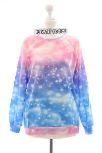 T-518 Fantasy Sky Stars Sterne Pullover Sweatshirt Pastel Goth rosa blau lila