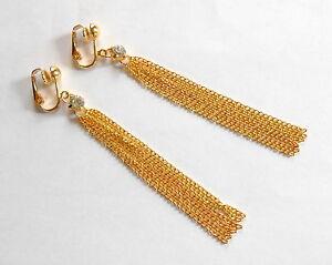 """3"""" LONG SHIMMERING GOLD & SPARKLE TASSLE DANGLES - CLIP ON EARRINGS (or hooks)"""
