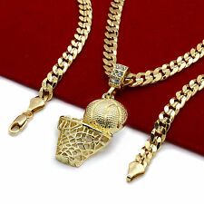 "Mens 14k Gold Plated Hip Hop Basketball ""Plain"" Pendant 6mm 24"" Cuban Chain"