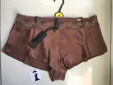 M&s Rosie for Autograph Bronze Silk W French Designed Lace French Knickers Sz 16