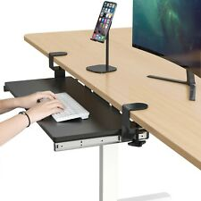 Clamp on Keyboard Tray Under Desk Sliding Adjustable Drawer Shelf Slides, BLACK