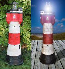 Leuchtturm Solar Roter Sand ca. 80 cm mit LED Beleuchtung Leuchturm Gartendeko
