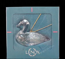 Lenox China Christmas Goose or Duck Crystal & Frosted Holiday Ornament MIB 1990