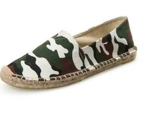 Men's Camouflage Canvas Stitching Slip On Espadrille Loafers Casual Shoes MOON
