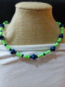 Lime green & navy blue glass seed bead  necklace ~ hippy love beads