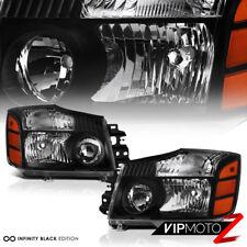 For 2004-2015 Titan 04-07 Armada 5.6L V8 King Crew Cab Black Crystal Headlight