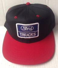 1970s 1980s FORD TRUCKS TRUCKER BASEBALL CAP HAT, BLACK and RED, VINTAGE