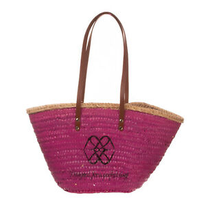 CUPLE Woven Straw Shoulder Tote Bag HANDMADE Large Coated Fully Lined Zipped