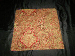 Ralph Lauren 20x20 Pillow Cover Medallion Paisley Floral Green Red Brown Zipper
