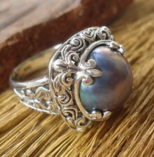 925 Sterling Silver-LH118-Balinese Hand Made Ring Grey Mabe Pearl Size 7