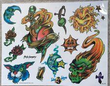 "Tattoo Flash Single Sheet Print by Kelly Gormley Roses Sun Moon Skull 11"" X 14"""