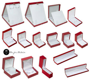 Red Leatherette Jewellery Boxes Ring Bracelet Bangle Watch Earring Necklace Box