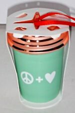 Starbucks 2017 Peace Love Holiday Christmas Tree Green White Ceramic Ornament