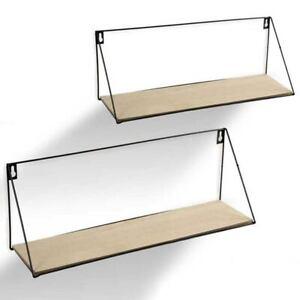 Set 2 Mensole Parete Rettangolare Mensola Scaffale Metallo e Legno 2 Misure