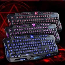 Wired Gaming Keyboard Tricolor Background Light Waterproof For Laptop Desktop