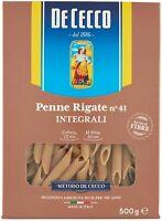 PASTA DE CECCO PENNE RIGATE DI GRANO DURO INTEGRALE FONTE DI FIBRE 5 PEZZI 2,5kg