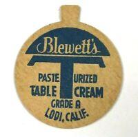 Blewett's Dairy Lodi California CA Grade A Table Cream Vintage Milk Bottle Cap