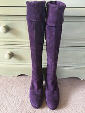 DUO Purple Knee High Suede Boots Kinky Size 38 UK5 D