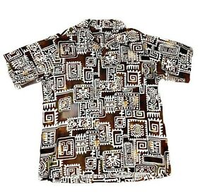 Vintage Brown and White Hawaiian Aztec Print Button Up Shirt Mens Size XL