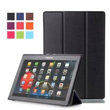 """Black - PU Leather Smart Case Cover for Lenovo TB-X103F (2016) 10.1"""" Inch Tablet"""