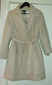 New Look Belted Formal Coat Cream UK Size 10 VR277 011
