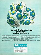 Publicité Advertising 018  1967  les  gants de toilette  Carte Bleue banque