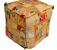 Beautiful Pouf Vintage Patchwork Cover 16X16 Size Indian Handmade Square Ottoman
