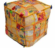 """16X16"""" Indian Handmade Square Ottoman Pouf Vintage Patchwork Cover Yellow Color"""
